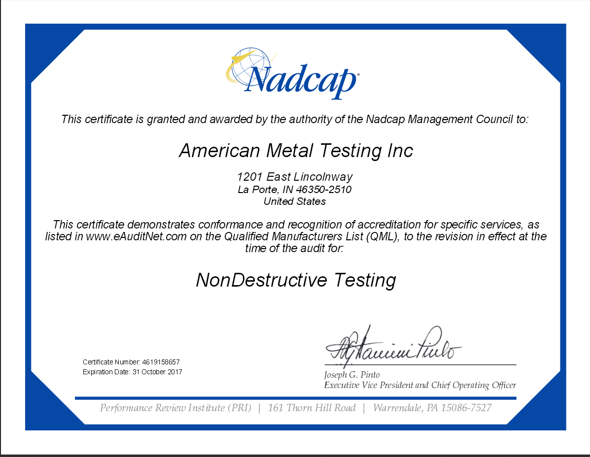 NonDestructive Metal Testing In-House